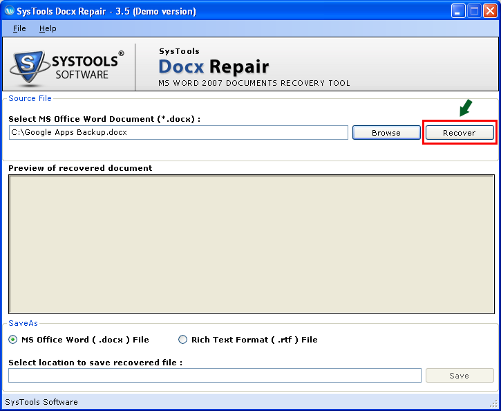 Repair Docx File - Word 2010 Repair Tool