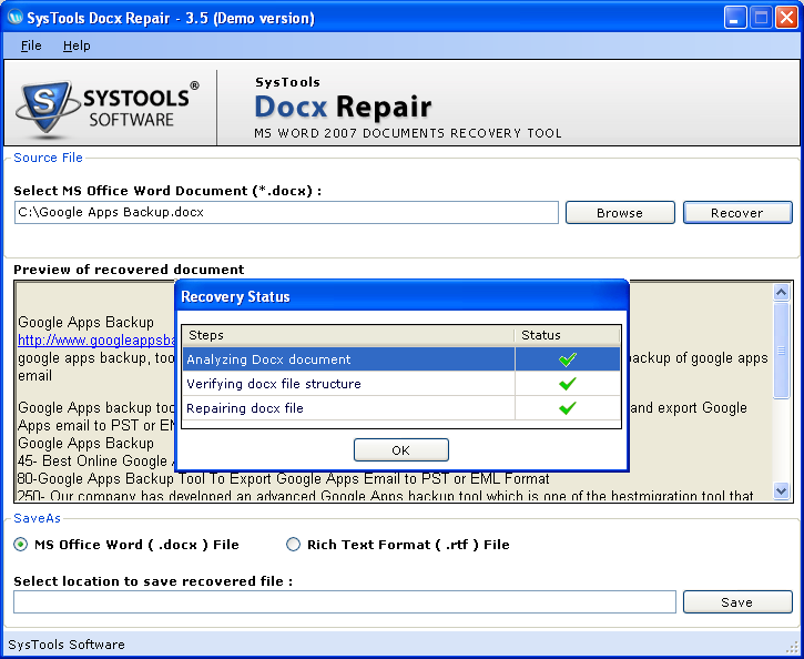 Ms word 2007 Repair Document 3.6.2